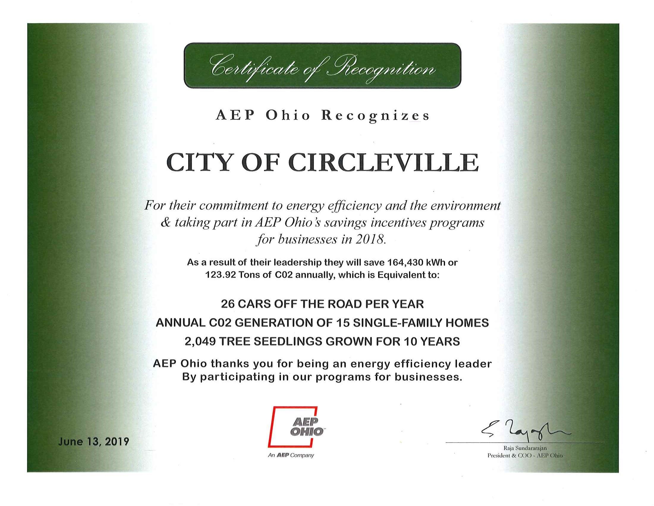 AEP Ohio Certificate of Recognition 2019