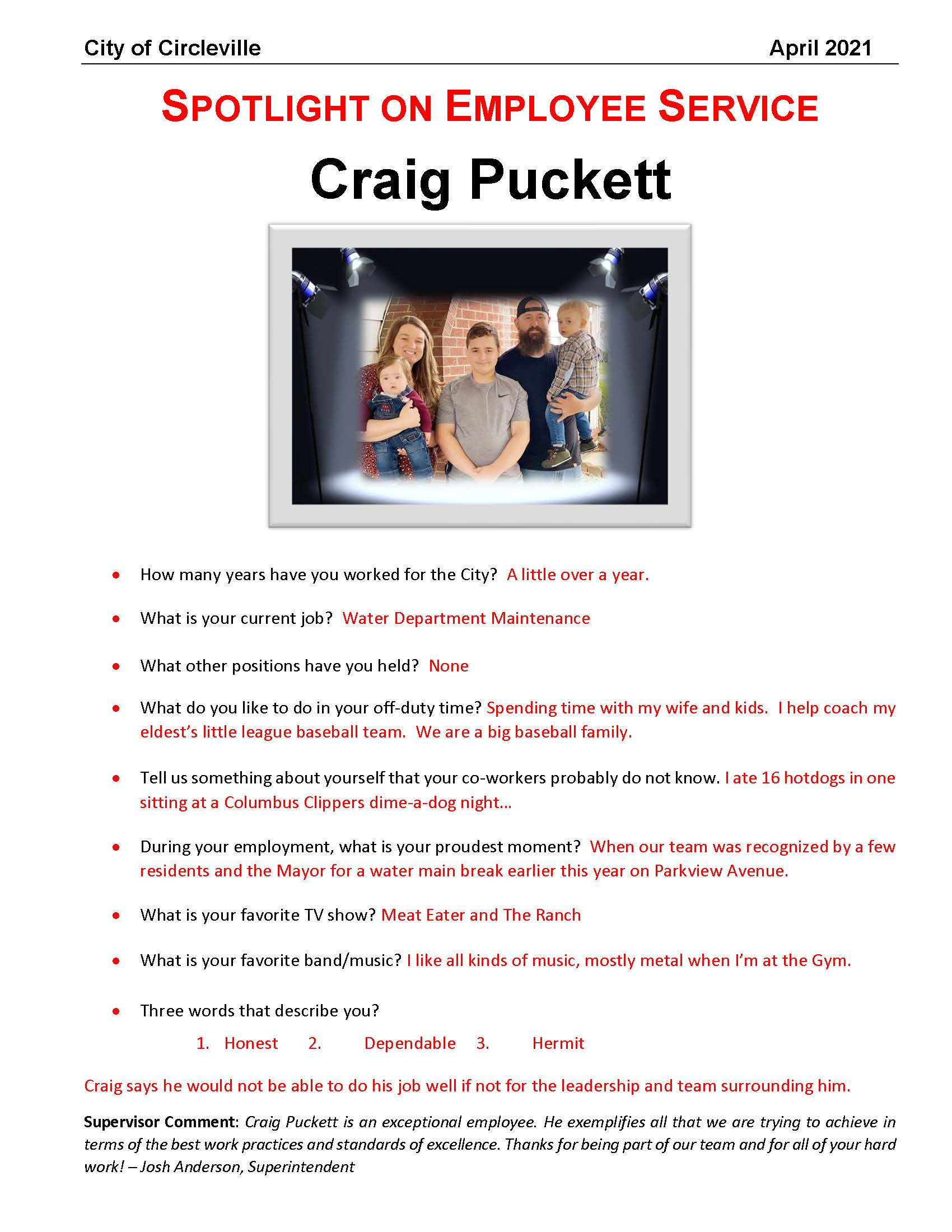 April 2021 - Craig Puckett