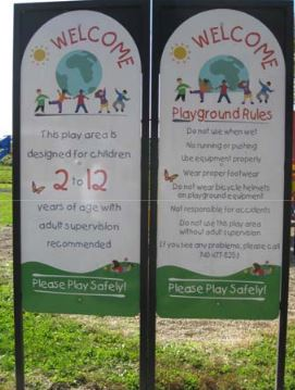 playground rules bulletin board at a park